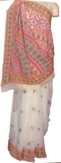 Ladies Georgette Chikan Sarees
