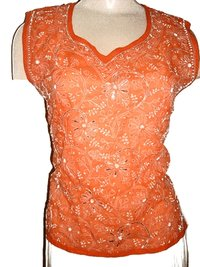 Womens Orange Chikan Top