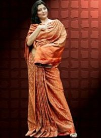 Orange Banarasi Jamdhani Saree