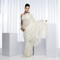 White Georgette Saree