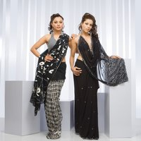 Black Georgette Saree With Self Embroidery