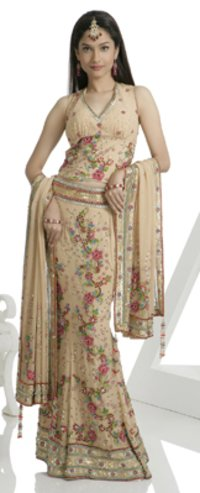 Beige Colour Georgette Fabric Lahenga