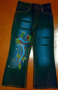 Children Embroidered Jeans Pant