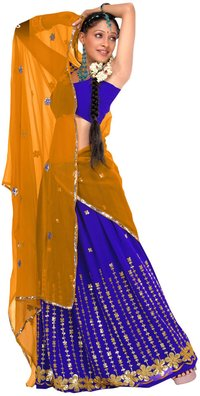 Navy Blue & Yellow Color Pavada Davani Saree