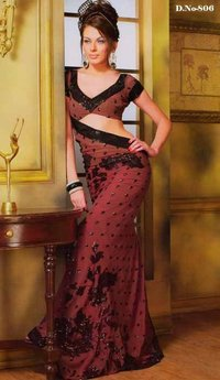 Beautiful Saree With Contrast Sequence Work