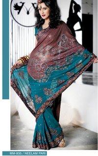 Embroidered Designer Partywear Lehanga Type Sarees