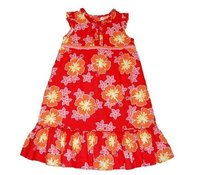 Red Cotton Printed Dress