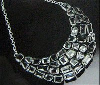 Stone Studded Ladies Silver Necklace