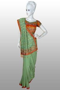 Pali Green Antique Sarosik Diamond Work Saree