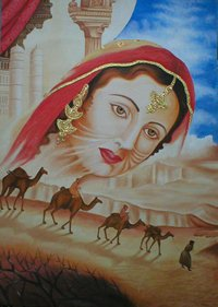Madhubala Oil Painting