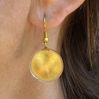 Sun Shape Gold Hanging Earrings