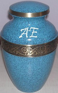 Avalon Evening Blue Brass Cremation Urn