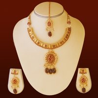 Ruby Moti Drops Necklace Set