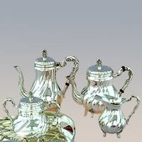 Silver Swirled Fluted Tea And Coffee Set