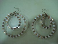 White And Golden Sequin Earring