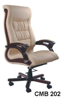 Medium Back Chair With Wooden Arm
