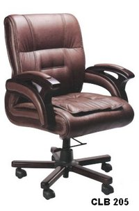Medium Back Chair With Wooden Arm Gas Lift