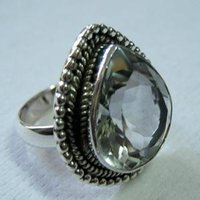 Silver Ring Studded With Green Amethyst