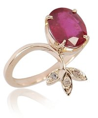 14k Gold Diamond Ruby Gemstone Jewelry Ring