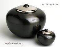 Simplicity Black Round Cremation Urn