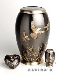 Flying Birds With Reeds Cremation Urn