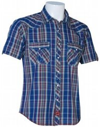 Mens Casual Blue Yarn Dyed Checks Shirts