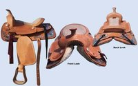Western Saddle Hand Tooled With Silver Fitting