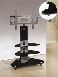 High Quality Black Tempered Glass Corner TV Stand