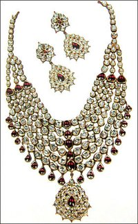 Diamond Polki Kundan Meena Necklace Set