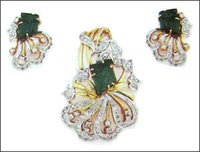 Velvety Green Tourmaline And Diamond Earrings With Pendent