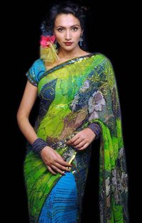 Blue Saree With Sequins Work