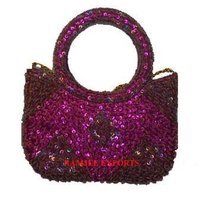 Raddish Pink Satin Fabric Beaded Bags