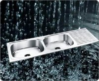 Double Bowl Sink With Single Drain Board