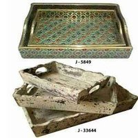 Brass And Wooden Trays