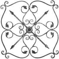 Wrought Iron Flower Panel