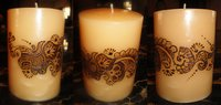 Large Cylindrical Candle With Mehndi Design