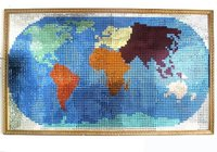 Mirror Glass Mosaic Of World Map