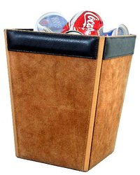 Elegant Leather Waste Baskets