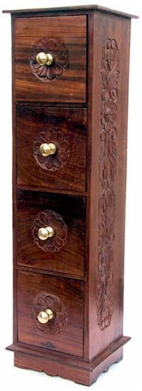 Wooden Cd Rack 4 Drawers Rich Carved