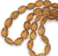 Beer Quartz Faceted Oval Beads