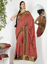 Pitch Crape Saree With Blouse