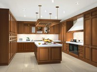 Solid Wood Kitchen Cabinet (LUBA007)