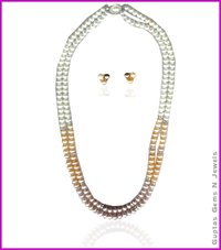 Pearls Necklace With Ear Tops