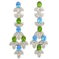 18/14k White Gold Earring With Blue Topaz, Peridot And Diamonds