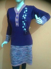 Hand Embroidery Woolen Kurti With Brass Buttons