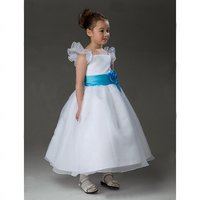 A-line Square Ankle-length Satin Organza Flower Girl Dress (HSX460)