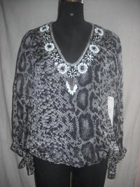 Printed Beaded Silk Chiffon Tops