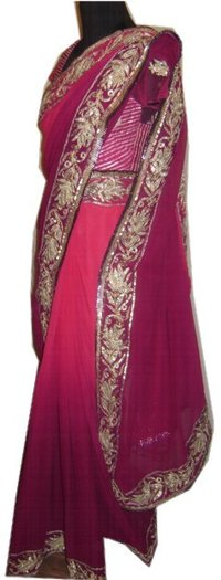Purple To Pink Degrade Saree