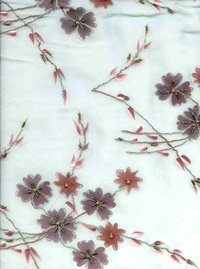 Georgette Fabric With Paint And Embroidery