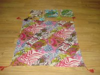 Cotton Patch Print Scarf With Tassels On Corners